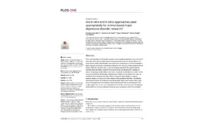 Article: animal research – MDD – PLoS ONE