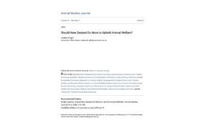 Article: animal welfare in New Zealand