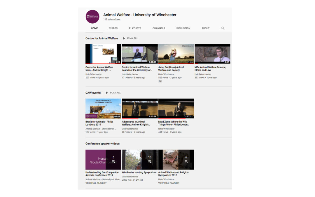 Centre for Animal Welfare YouTube channel launched